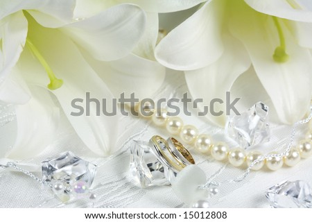 Wedding still life with rings - stock photo