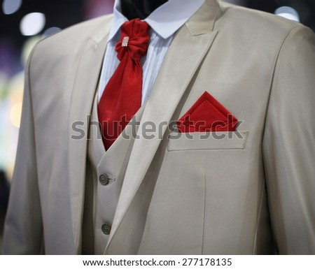 Wedding suit jacket of groom's man  - stock photo