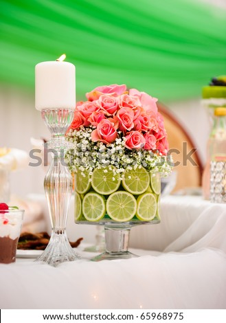 Wedding table arrangement - stock photo