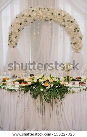 wedding table bride and groom - stock photo