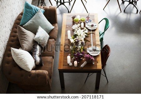 Wedding table decoration for bride and groom in interior.  - stock photo