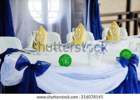 wedding table decoration in blue - stock photo