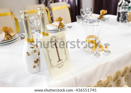Wedding Table Decoration - Series.On the table is champagne, candles