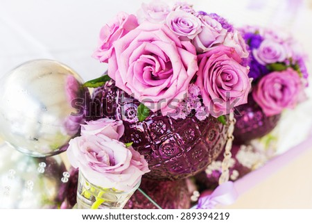 Wedding table decoration. Wedding setting. Shallow depth of field. - stock photo