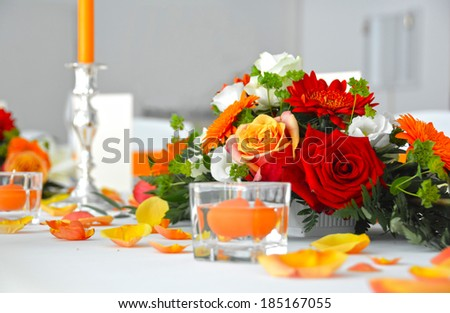 Wedding table flower decoration - stock photo