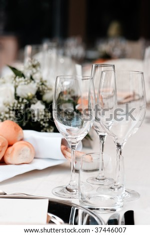 Wedding table. Focus on the glasses.