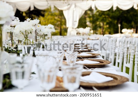Wedding Table Ready For Dinner - stock photo