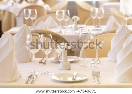 Wedding table set for fun dining - stock photo