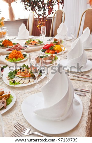 Wedding table setting - stock photo