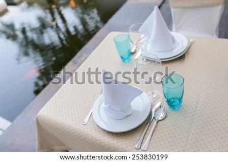 wedding table setting closeup. table setting - stock photo