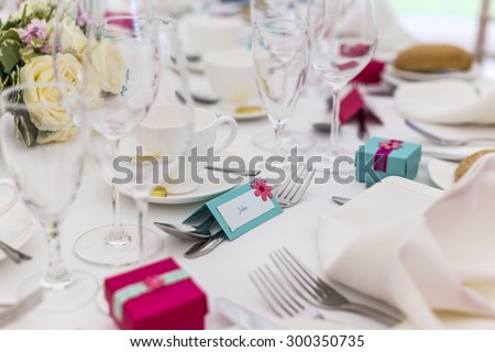 wedding table setting with name card - stock photo