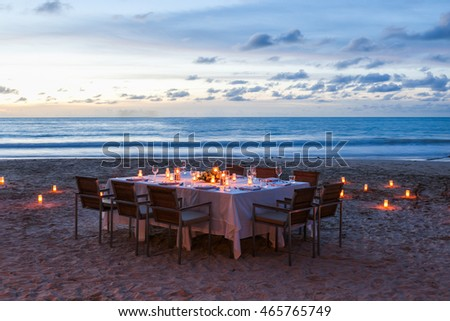 wedding table setup on the beach at Thailand