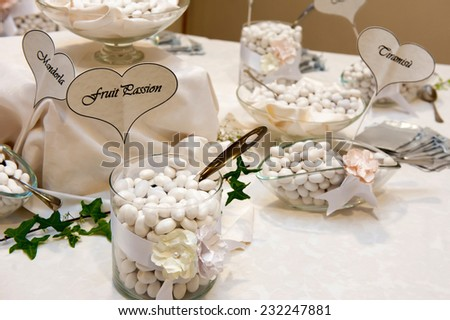 wedding table with white confetti  - stock photo