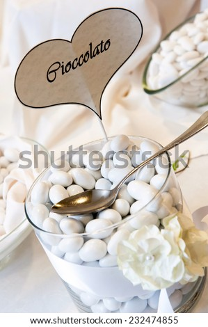 wedding table with white confetti  - stock photo