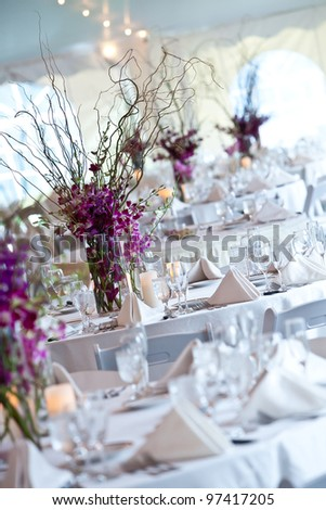 wedding tables set for fine dining