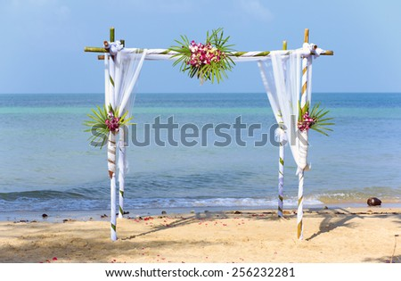 Wedding tropical ceremony, decoration. - stock photo