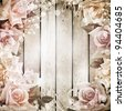 Wedding vintage romantic background with roses - stock photo