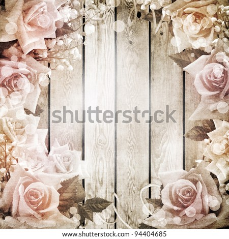 Wedding vintage romantic background with roses - stock photo