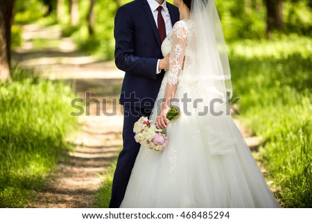 Wedding Day Beautiful Bride And Elegant Groom Walking After Ceremony Luxury