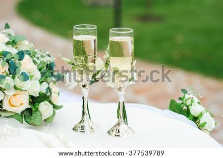Wedding wineglasses - stock photo