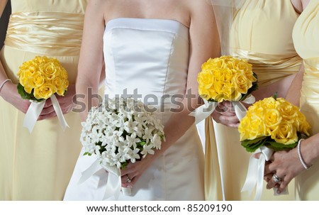 Wedding with White and Yellow Flowers - stock photo