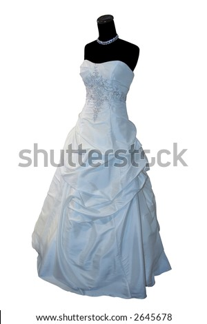 Weddings dress on a mannequin isolated on white (clipping path included)