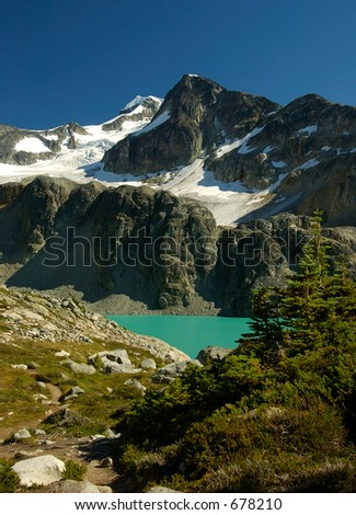 wedge mountain gake with glacier in summer vanvouver, british columbia, Canada - stock photo