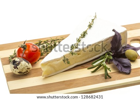 Wedge of Gourmet Brie Cheese - stock photo