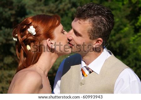 Weding kiss - stock photo