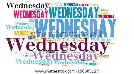 Wednesday colour text cloud style - stock photo