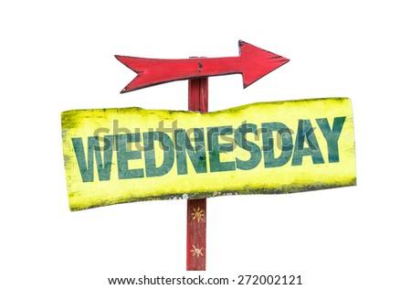 Wednesday sign isolated on white - stock photo