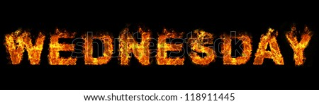 Wednesday text on fire - stock photo