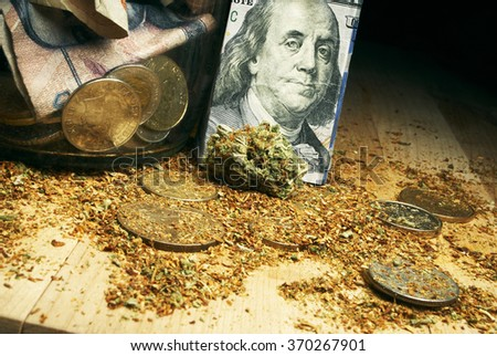 weed and money, marijuana bud and hundred dollar bill
