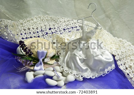 weeding Favors and wedding rings and bands for weddings and holidays - stock photo