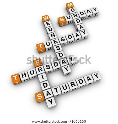 weekdays crossword  (3D crossword orange series) - stock photo