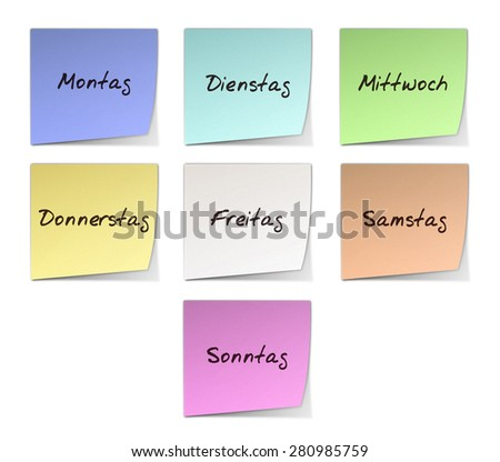 Weekdays in German - stock photo