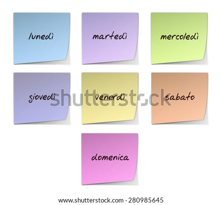 Weekdays in Italian - stock photo