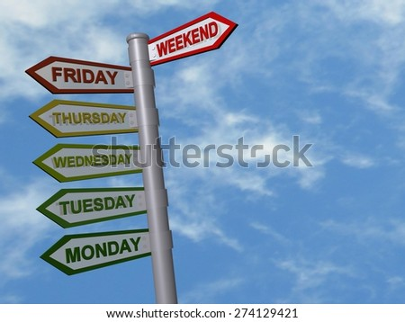 weekend - days of the week - colors energy - stock photo