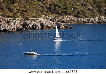 Weekend leisure activities along the Mediterranean coast - stock photo