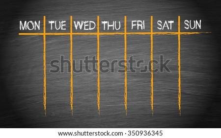 Weekly Calendar on chalkboard background - stock photo