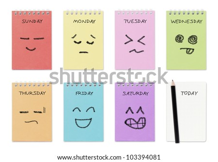 weekly calendar with face drawing  ,routine work concept - stock photo