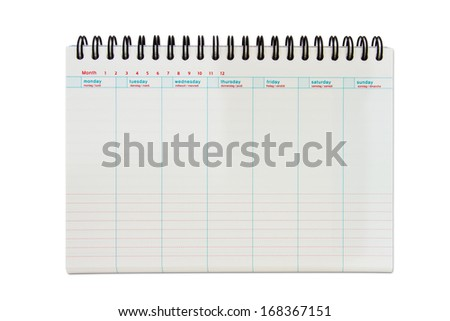 Weekly planner isolated background with path - stock photo