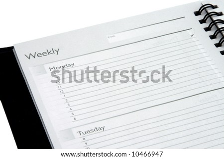 Weekly planner Monday and Tuesday isolated on white background - stock photo