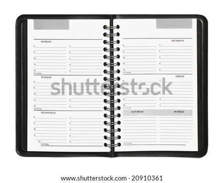 Weekly planner showing hourly schedule isolated on white - stock photo