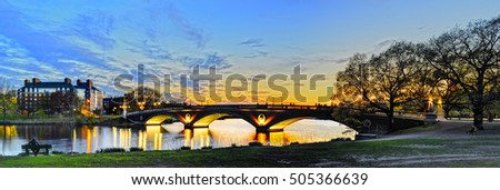 Weeks Memorial Bridge across Charles River in Cambridge, Massachusetts