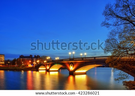 Weeks Memorial Bridge at night, Harvard University