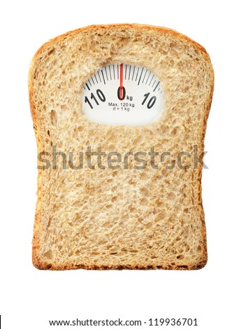 Weighing scales in form of a bread slice representing dietary warning - stock photo