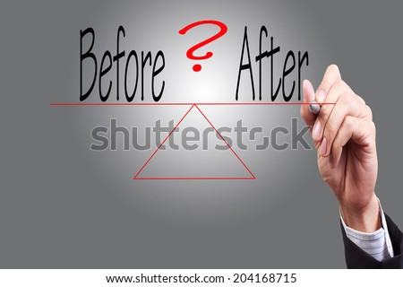 weighing the risk before and after of a situation or issue  one word on each side comparing the positives and negatives   - stock photo