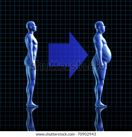 weight gain calories health fitness diet exercise medical health healthy arrow transformation blue human fat symbol - stock photo