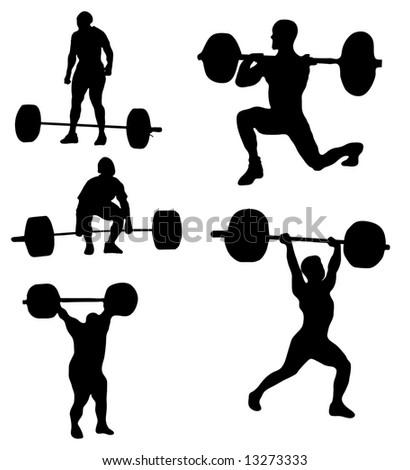 Clean Jerk Silhouette Weightlifter Stock Vector 636062435 ...